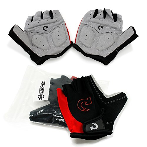 (GEARONIC TM Cycling Bike Bicycle Motorcycle Shockproof Foam Padded Outdoor Sports Half Finger Short Gloves - Red L)