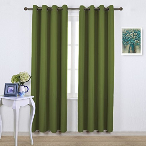 NICETOWN Blackout Curtains for Living Room - Functional Blackout Curtains / Panels for Bedroom, Thermal Insulated, Privacy Assured (Set of 2, 52 x 95 Inch in Olive Green) - Home Panel Bed