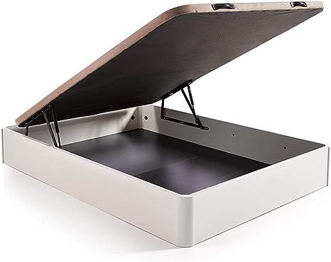 Hogar 24 Canapé Abatible Madera Gran Capacidad con Tapa 3D y Válvulas de Transpiración, con Esquineras en Madera Maciza, Color Blanco, 105X190cm