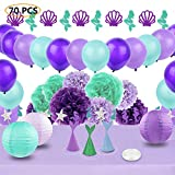Mermaid Party Supplies & Party Decoration JOFAMY Purple and Teal Party Decorations with Paper Flowers,Lanterns,Party Balloons,Garland for Birthday Party,Baby Shower,Bridal Shower,Engagement, Wedding