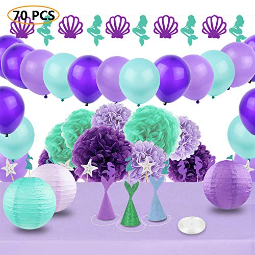 Mermaid Party Supplies & Party Decoration JOFAMY Purple and Teal Party Decorations with Paper Flowers,Lanterns,Party Balloons,Garland for Birthday Party,Baby Shower,Bridal Shower,Engagement, Wedding by JOFAMY