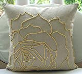 "Handmade Ecru Shams, Jute Rose Flower Pillow Shams, 24""x24"" Pillow Sham, Square Cotton Linen Shams, Modern Pillow Shams - Linen Rose"
