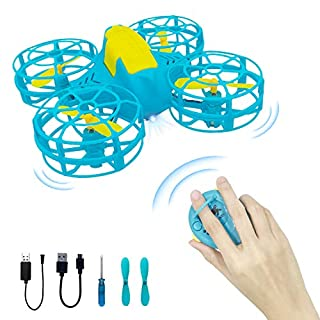 Mini Drones for Kids, 3D Flips Nano Quadcopter, Hand Operated & Remote Control Flying Toys with Altitude Hold & Headless Mode, One Key Return, Rechargeable Drone for Boys & Girls(Blue)