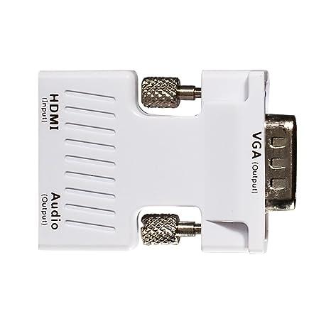 Xgeek Activo HDMI hembra a VGA macho adaptador con cable estéreo de 3,5 mm Soporta ...