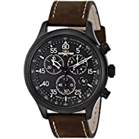 Timex Men's T49905 Expedition Rugged Field Chronograph Black/Brown Leather Strap Watch