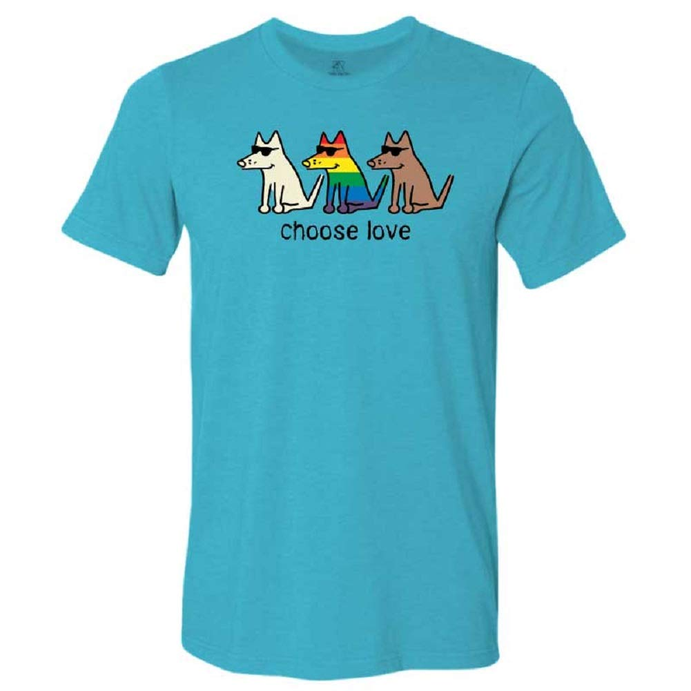Teddy the Dog Choose Love Unisex Lightweight Tee Gay Pride Shirt for Dog Owner Pride Month Donate to The Trevor Project Size X-Large Aqua