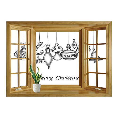 Strings Randy Rhoads - SCOCICI Window Mural Wall Sticker/Christmas,Sketchy Hand Drawn Classical Ornaments Hanging from Strings Celebration Text Decorative,Black White/Wall Sticker Mural