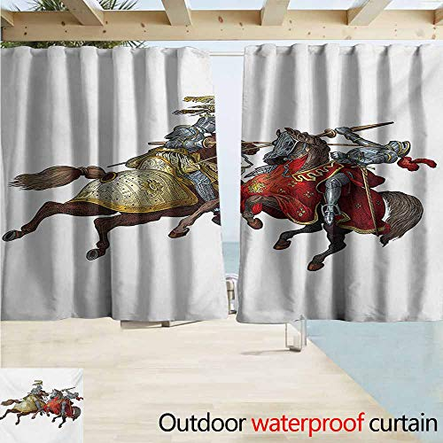 Indoor/Outdoor Top Curtain,Medieval Middle Age Fighters Knights with Ancient Costume Renaissance Period Illustration,Outdoor Privacy Porch Curtains,W55x63L Inches,Multicolor -