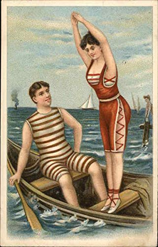 (Couple in Swim Costumes in Boat Swimsuits & Pinup Original Vintage)