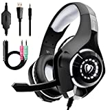 Beexcellent Gaming Headset for PS4 Xbox One PC Nintendo Switch (Audio) with Noise Isolation Mic Crystal Stereo Surround Sound LED Lights (GM-1) (Grey) For Sale