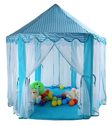 tieno 55 x 53 children indoor play tent princess castle playhouse for kids blue with storage. Black Bedroom Furniture Sets. Home Design Ideas