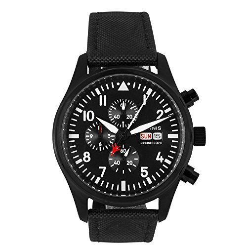 Whatswatch 42mm Parnis PVD pilot/aviator chronograph quartz mens watch PA-01199
