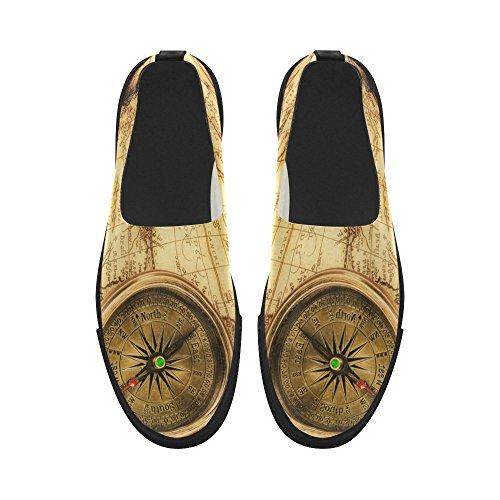 D-verhaal Custom Vintage Wereldkaart En Kompas Instappers Microfiber Herenschoenen Sneaker