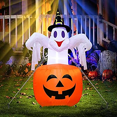 Halloween Inflatable Ghost Blow in Pumpkin Up Outdoor Yard Scary Halloween Decor