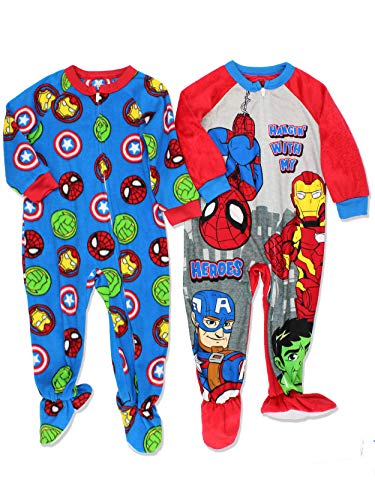 (Marvel Super Hero Adventures Avengers Boys 2 Pack Fleece Footed Sleeper Pajamas (3T,)