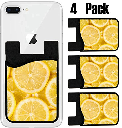 MSD Phone Card holder, sleeve/wallet for iPhone Samsung Android and all smartphones with removable microfiber screen cleaner Silicone card Caddy(4 Pack) IMAGE ID 36577258 detail of lemon slices image by MSD