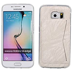 S6 Edge Funda,Galaxy S6 Edge Funda, Lifeturt [Card Slot] PU Leather Stand bracket Funda Cover with 1 Card Holder Slots para Samsung Galaxy S6 Edge Funda [blanco]