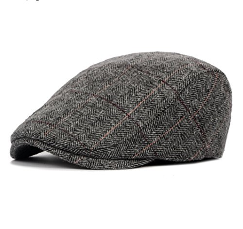 Scally Flat (Men's Grid Beret Warm Newsboy Flat Scally Cap)