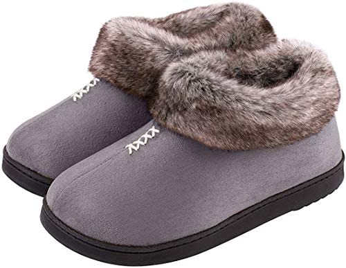 Womens Cozy Memory Foam Slippers Fluffy Micro Suede Faux Fur Fleece Lined House Shoes with Non Skid Indoor Outdoor Sole