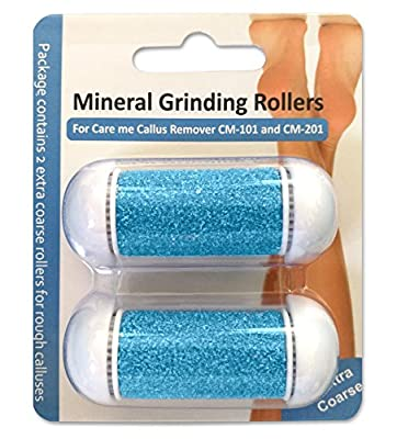 Extra Coarse Replacement Rollers for Care me Callus Remover - Fit Battery-Operated CM-101 & Rechargeable CM-201 Models - 2 Super Coarse Refill Rollers for Tough & Rough Calluses - pack of 2