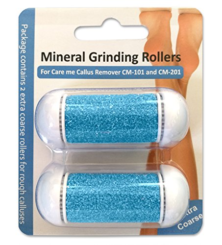 Extra Coarse Replacement Rollers for Care me Callus Removers - Fit Battery-Operated CM-101 & Rechargeable CM-201-2 Super Coarse Refill Roller Heads for Tough Calluses