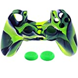 Naladoo 1PC Kid Baby Camouflage Silicone Skin Case Cover For Playstation 3 PS3 Controller Game Toy Gift (Green)