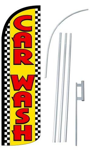 "NEOPlex - ""CAR WASH"" 12-foot SUPER Swooper Feather Flag W..."
