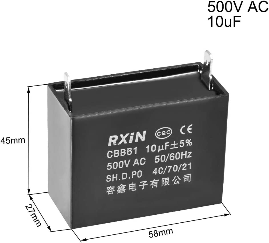 uxcell CBB61 Run Capacitor 500V 10uF 2-pin Metallized Polypropylene Film Capacitors for Ceiling Fan
