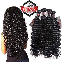 4 Bundles Brazilian Virgin Hair Deep Wave (24 26 28 30) 8A Remy Human Hair Brazilian Deep Curly Hair Resaca Unprocessed Deep Wave Hair Bundles Extensions Natural Color Weft Full Set