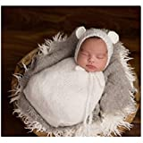 Newborn Baby Infant Photography Photo Props Boy Girl Outfits Cute Sleeping Bag (White)