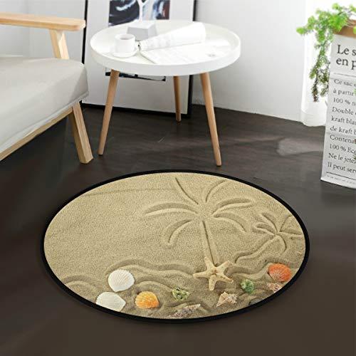 ALAZA Ocean Sand Beach Starfish Seashell Palm Tree Summer Tropical Round Area Rug for Living Room Bedroom 3' Diameter(92 cm)