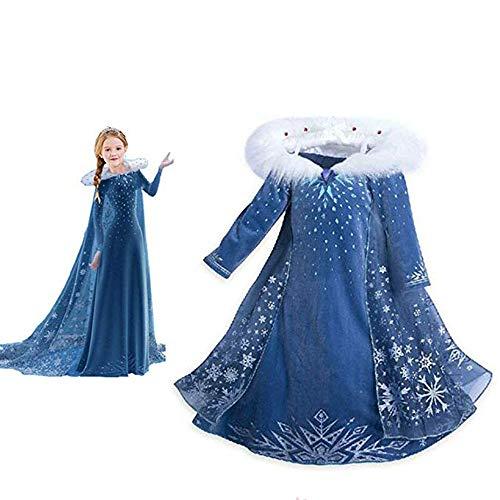 Snow Princess Costume Girls Halloween CosplayFancy Dress QueenChristmasBirthday Party Dress 3-8T