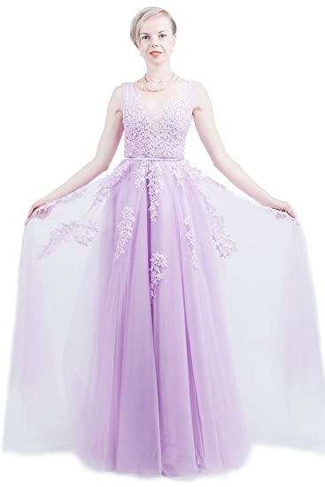 f2490c5fa7e Saint Toi Line Princess V-Neck Floor-Length Chiffon Lace Prom Dress With  Beading Sequins LSWS-0003 at Amazon Women s Clothing store