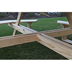 "A&L Furniture 54"" Amish-Made Octagonal Pressure-Treated Pine Walk-In Picnic Table with Umbrella Hole, Pressure-Treated Pine Stain"