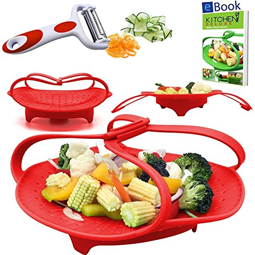 PREMIUM Silicone Vegetable Steamer Basket - Red - BEST Bundle - Fits Instant Pot - BONUS Accessories - eBook + Julienne Peeler - 100% Silicon - Food Steam Insert - For Instapot Pressure Cooker