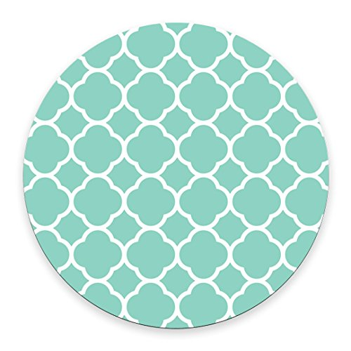 Non-Skid Natural Rubber Back Mint Quatrefoil Pattern Teal Turquoise Design Soft Mouse Pad Gaming - Pad Teal Mouse