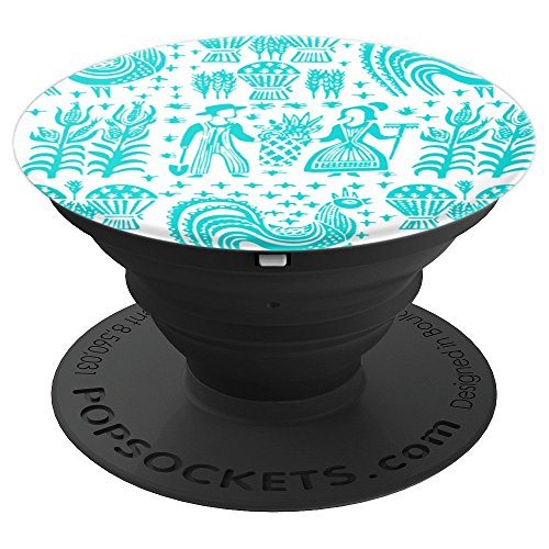 Vintage Pyrex Pattern - Butterprint (Turquoise on White) - PopSockets Grip and Stand for Phones and Tablets - Amish Pedestal