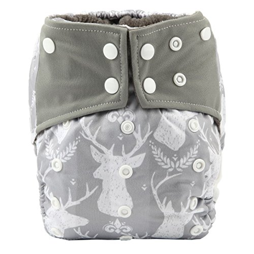 Sigzagor Baby Pocket Cloth Diaper Nappy Charcoal Bamboo Inner Double Gussets Reusable Washable 8lbs-36lbs (Grey Deers)