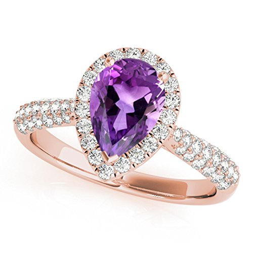 1.55 Ct. Ttw Diamond and Pear Shaped Amethyst Ring in 10K Rose Gold