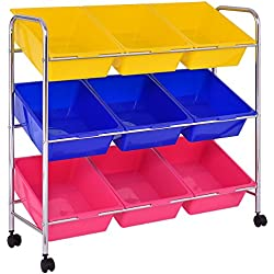Giantex 9-Bin Rolling Storage Cart and Organizer with Drawer Kids Toy Storage Box Playroom Bedroom Shelf, with Wheels
