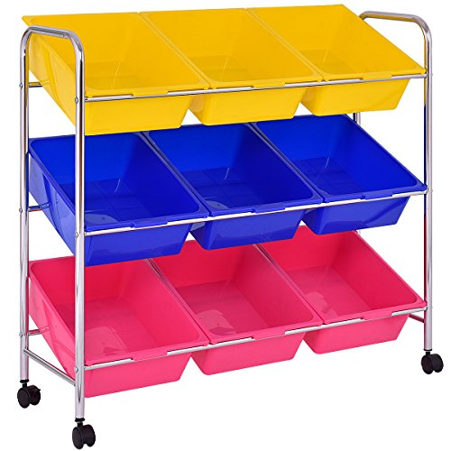 Giantex 9-Bin Rolling Storage Cart and Organizer with Drawer Kids Toy Storage Box Playroom Bedroom Shelf, with Wheels ()