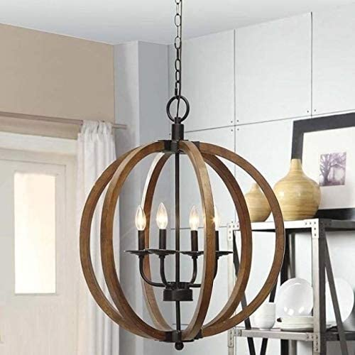 Deluxe Lamp 20 W x 24 H Rustic Circle Chandelier Gray Wood and Iron Chandelier Large Orbit Chandelier Farm House Chandelier Rustic Rod Iron Chandeliers