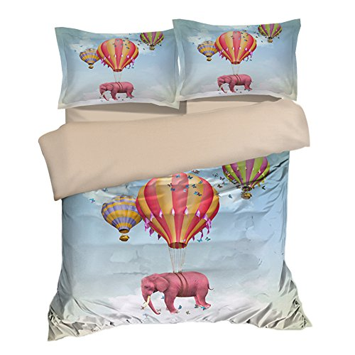 Special Flying Hot Balloon Pink Elephant Cotton Microfiber 3pc 80''x90'' Bedding Quilt Duvet Cover Sets 2 Pillow Cases Full Size by DIY Duvetcover