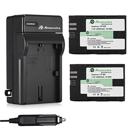 Powerextra 2 Pcs Replacement Canon LP-E6 / LP-E6N Battery and Charger for Canon EOS 5D Mark II, EOS 5D Mark III, EOS 5DS, EOS 5DS R, EOS 6D, EOS 7D, EOS 7D Mark II, EOS 60D, EOS 60Da, EOS 70D, EOS 80D
