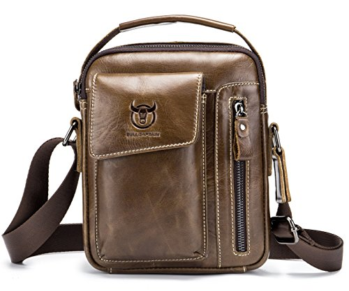 Genuine Leather Men Bags Small Shoulder Crossbody Bag for Men Everyday Casual Travel Messenger Bag Handbag (brown)