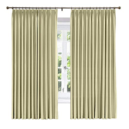 (Cottontree Homesoft Extra Wide Window Treatment Solid Cotton Silk Satin Curtain-Energy Saving Pinch Pleated Blackout Lined Drapery for Bedroom,100