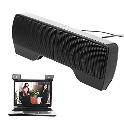 Fucung 1Pair Portable Mini USB Stereo Speaker Soundbar clipon Speakers for Notebook Laptop Phone Music Player Computer PC with Clip