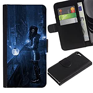 KingStore / Leather Etui en cuir / Apple Iphone 5 / 5S / Art Blue Night City Lights Futurismo Auriculares