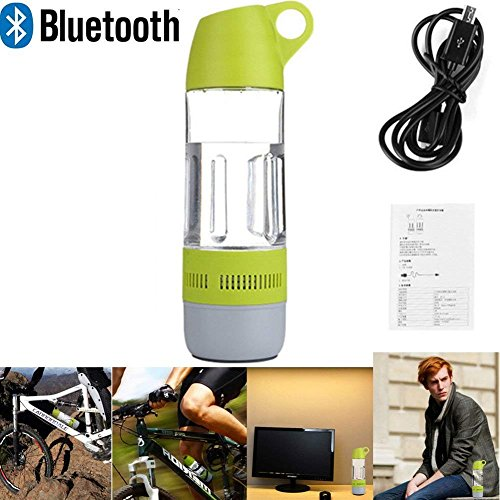 LarKoo 2 in 1 Water Bottle Wireless Bluetooth Speakers Outdoor Indoor Portable Waterproof Bike Riding Rechargeable Speaker with TF USB Cable Compass Water Cup (Green) by LarKoo