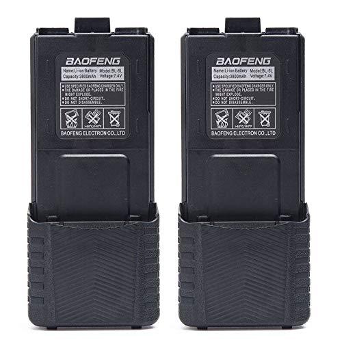 2pcs Original Baofeng 3800mAh Li-ion Battery High Capacity Big Spare Battery for Baofeng Two Way Radio DM-5R UV-5R UV-5RE Plus BF-F8HP UV-5RTP Serie (2, ()